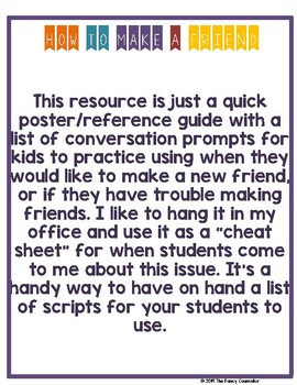 How to Make a Friend Resource Poster Social Scripts