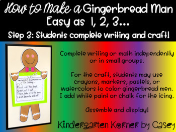 Gingerbread Man Bulletin Board Set - How To Writing / Make a 10 Math K 1 2 Craft