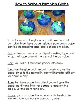 Fall Activity: Procedural Writing - How to Make a Pumpkin Globe