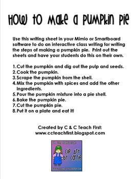 How to Make a Pumpkin Pie Writing FREEBIE
