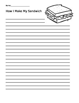 How to Make a Sandwich Writing Pages
