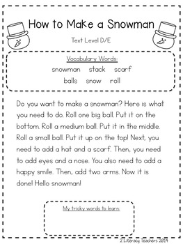 How to Make a Snowman: CCSS Aligned Leveled Reading Passages and Activities