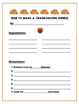 FREE How to Make a Thanksgiving Dinner Recipe  writing or dictation activity