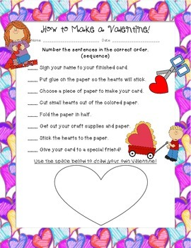How to Make a Valentine!  Sequencing Practice