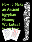 How to Make an Ancient Egyptian Mummy Worksheet