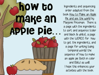 How to Make an Apple Pie...Sequencing Activities