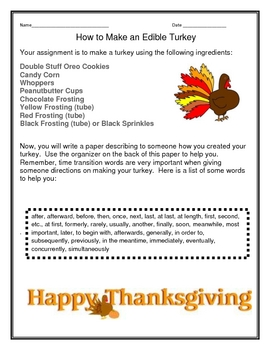 How to Make an Edible Turkey Expository Writing Activity