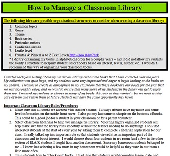 How to Manage a Classroom Library
