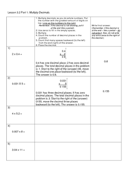 How to Multiply Decimals, Multi-digit by One-digit - PDF