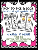 How to PICK a Good Book -Bookmark to Compliment The Daily Five