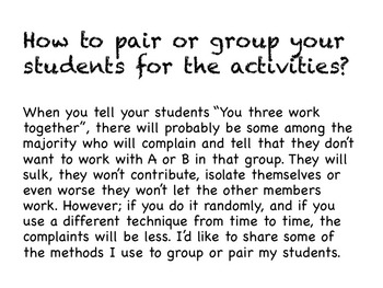 How to Pair or Group Your Students for the Activities