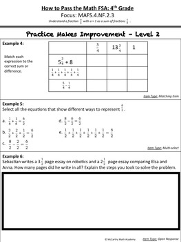 How to Pass the Math FSA - Add and Subtract Fractions - MAFS.4.NF.2.3 Test Prep