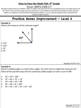 How to Pass the Math FSA - Find Unknown Angles - MAFS.4.MD.3.7 (Test Prep)