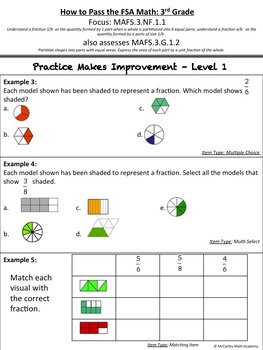How to Pass the Math FSA - Fractions of Shapes - 3.NF.1.1, 3.G.1.2 (Test Prep)