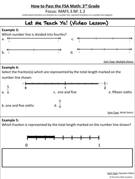 How to Pass the Math FSA - Fractions on a Number Line MAFS.3.NF.1.2 (Test Prep)