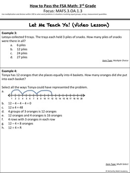 How to Pass the Math FSA - Mult/ Div Word Prob. MAFS.3.OA.1.3 (3rd Test Prep)