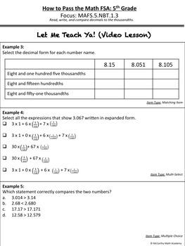 5th Grade Math FSA Test Prep - Part 2 - FREE Videos (Save 52%)