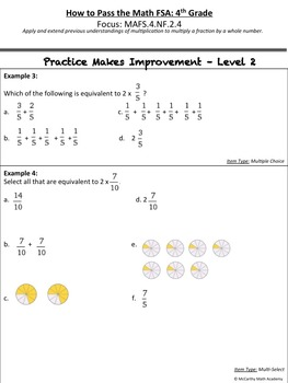 How to Pass the Math FSA - Multiply Fractions by a Whole Number - MAFS.4.NF.2.4