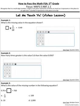 How to Pass the Math FSA - Place Value - MAFS.5.NBT.1.1 (Test Prep)
