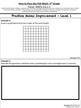 How to Pass the Math FSA - Shapes and Their Attributes MAFS.3.G.1.1 (Test Prep)