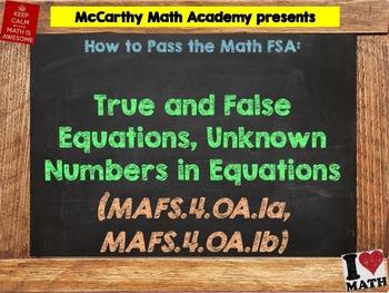 How to Pass the Math FSA - True/False Equations - MAFS.4.OA.1a,b (Test Prep)
