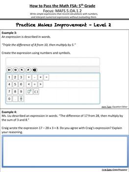 How to Pass the Math FSA - Write/Interpret Numerical Expressions - MAFS.5.OA.1.2