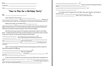How to Plan for a Birthday Party Commas in a Series Activity