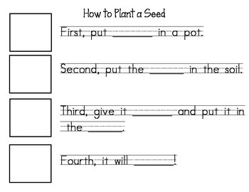 How to Plant a Seed Sequencing and Fill-in the Blank