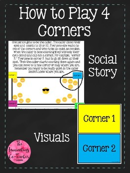 How to Play Four Corners Social Story &  Visuals
