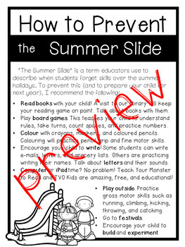 How to Prevent the Summer Slide - Printout for Parents and Guardians