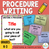 Procedure Writing (How to) Prompts, Posters and Templates