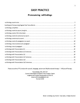 -ed Endings:Easy Practice Pack