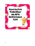 How to Put Together an APA 6 List of References with Checklist