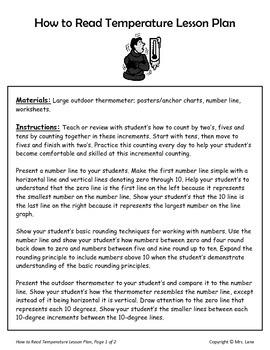 How to Read Temperature Lesson