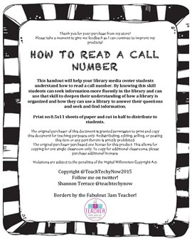 How to Read a Call Number Handout