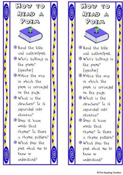 How to Read a Poem Anchor Chart and Bookmarks Common Core Aligned