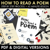 How to Read a Poem Introduction to Poetry & Poetic Terms PDF & Google Drive CCSS