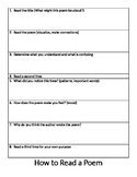 How to Read a Poem Graphic Organizer