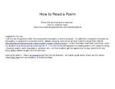 How to Read a Poem, for any poem, EDITABLE