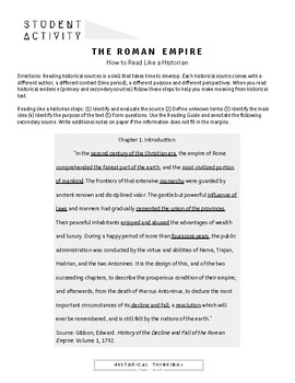 """How to """"Read like a Historian"""": An Introduction to the Roman Empire"""
