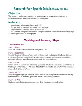 How to Research and Write to Inform (ReadyGen 3.B.1)