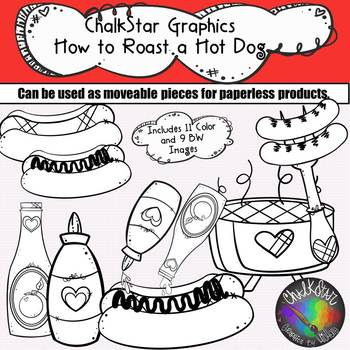 How to Roast a Hot Dog Clip Art- Chalkstar Graphics