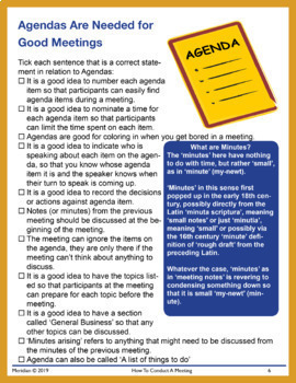 Student Worksheets: How to Have a Meeting **NEW**