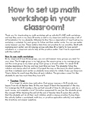 How to Set Up Math Workshop in Your Classroom-- Resources