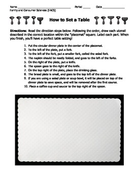 How to Set a Table Worksheet