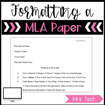 How to Setup a MLA paper