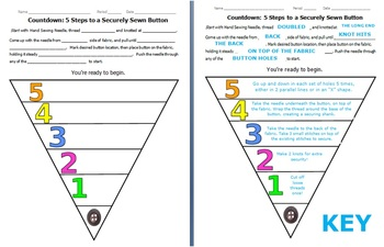 How to Sew a Button- No-Fail 5 Step Countdown Method! Graphic Organizer with Key