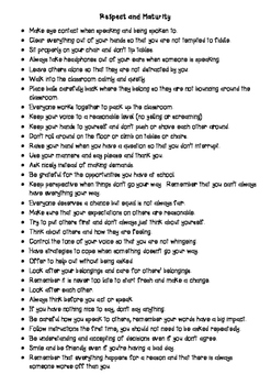 How to Show Respect and Maturity (Notes for the classroom)