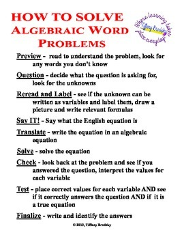 How to Solve Algebraic Word Problems Tip Sheet