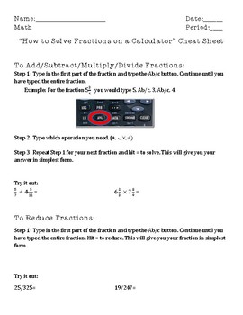 How to Solve Fractions Using a Calculator Cheat Sheet